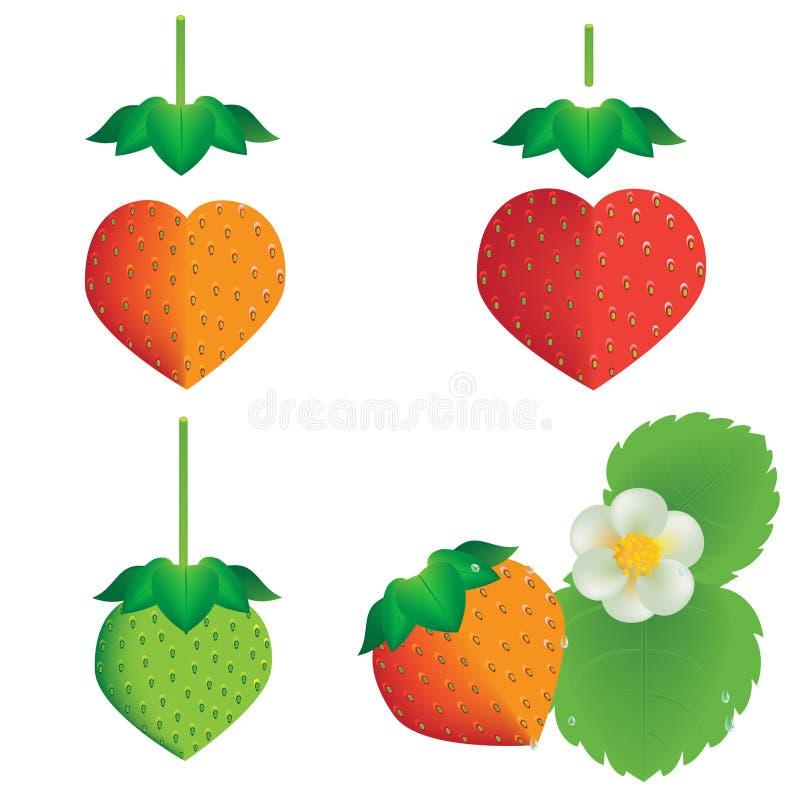 Herzform der Erdbeere stock abbildung