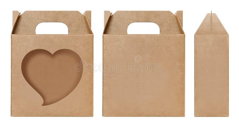 Herzform Fenster des Kastens schnitt braune Verpackungsschablone, leere lokalisierter weißer Hintergrund Kraftpapier-Kastens Papp lizenzfreie stockfotos