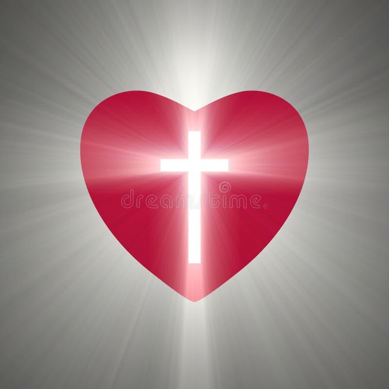 Herzform mit einem glänzenden Kreuz nach innen lizenzfreie abbildung