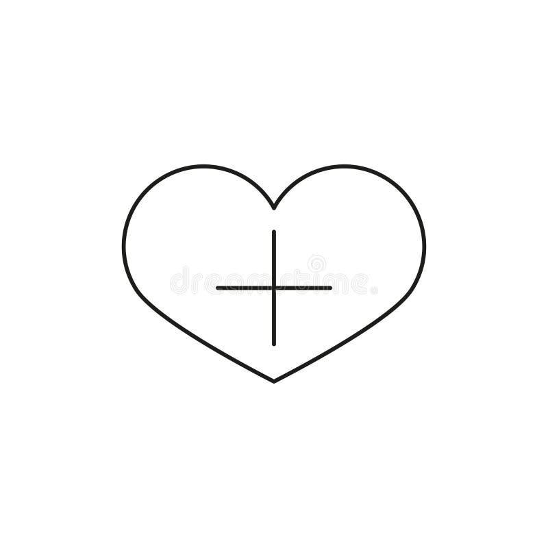 Herzform mit linearer Ikone des Pluszeichens Fügen Sie Lieblingsvektorikone hinzu Dünnes Zeilendarstellung bookmark Konturnsymbol lizenzfreie abbildung