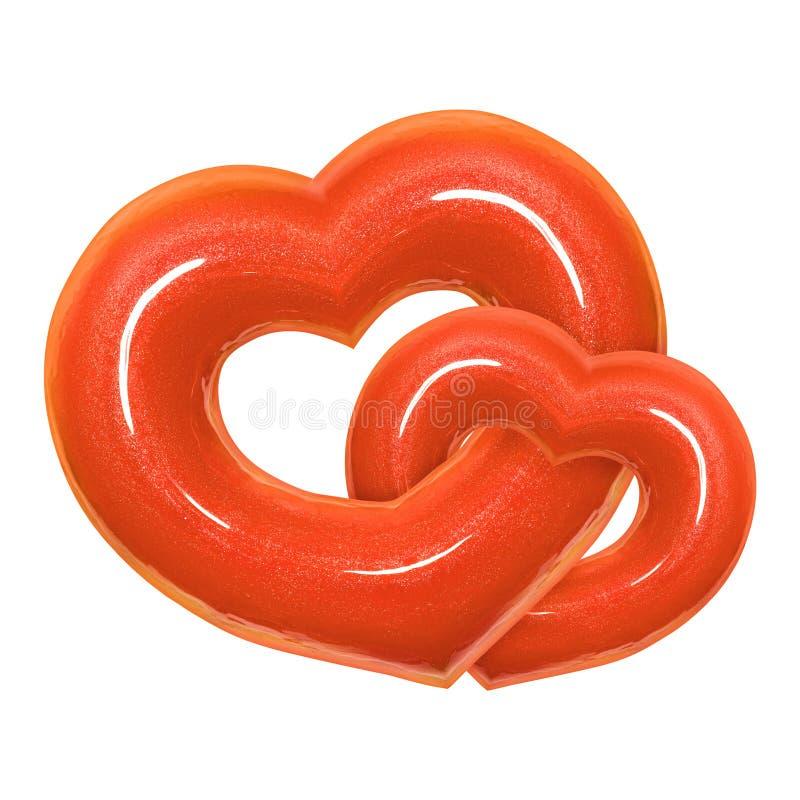 Herzform mit zwei Donuts mit Lebenglasig-glänzender Vorderansicht der tendenzfarbe 2019 lokalisierte weißen Hintergrund mit Besch lizenzfreies stockbild