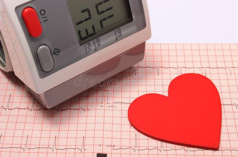 Herzform- und Blutdruckmonitor auf Elektrokardiogramm lizenzfreie stockfotos