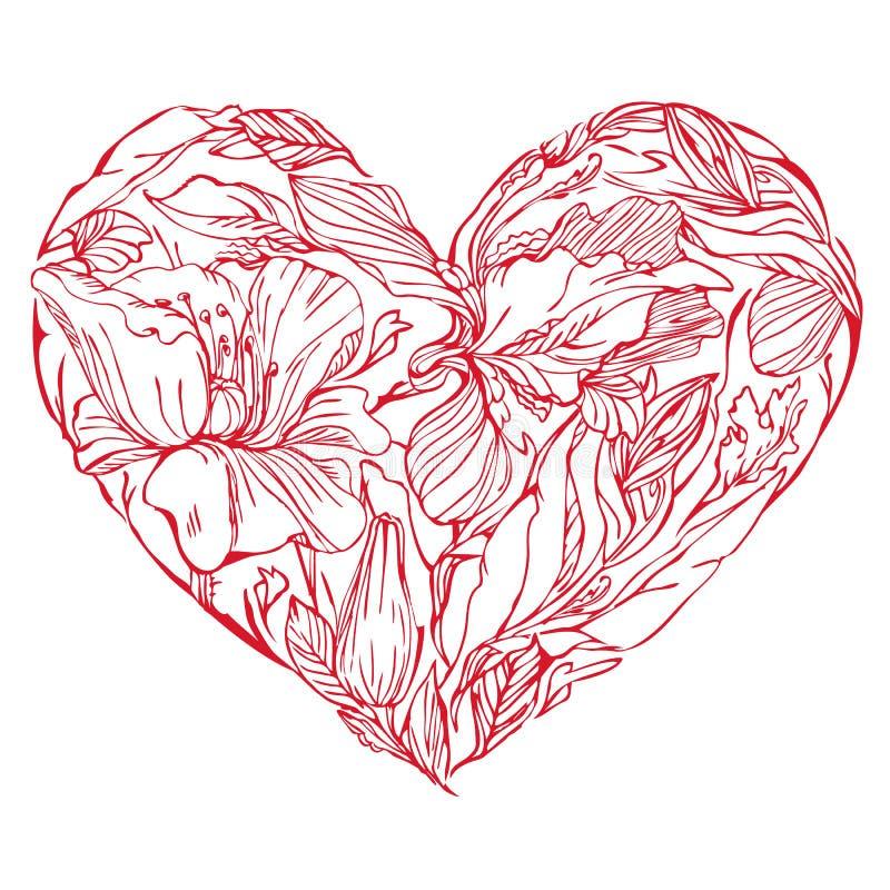 Herzform wird von Hand gezeichneten schönen Blumen gemacht lizenzfreie abbildung
