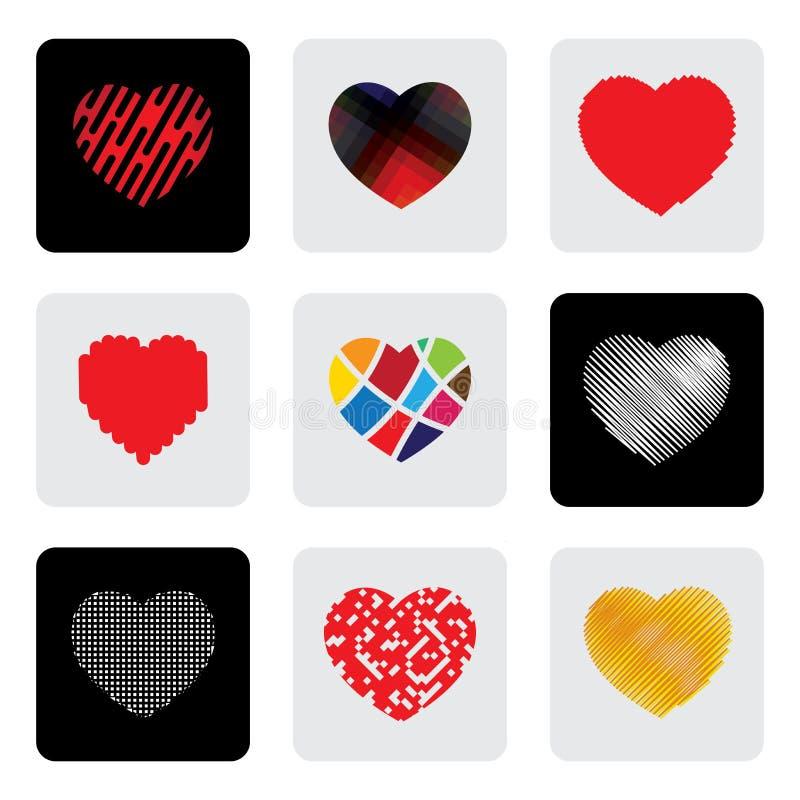 Herzformen oder Liebeszeichenvektorikonen eingestellt vektor abbildung