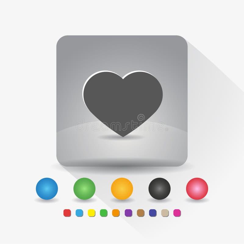 Herzformikone Zeichensymbol App in der runden Ecke der grauen quadratischen Form mit langer Schattenvektorillustration und Farbsc lizenzfreie abbildung