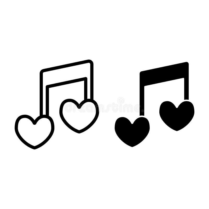 Herzformlinie der musikalischen Anmerkung und Glyphikone Liebesliedvektorillustration lokalisiert auf Weiß Romantischer Melodiene stock abbildung