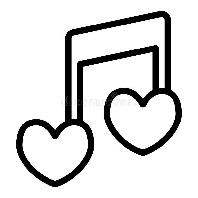 Herzformlinie Ikone der musikalischen Anmerkung Liebesliedvektorillustration lokalisiert auf Weiß Romantische Melodienentwurfsart lizenzfreie abbildung