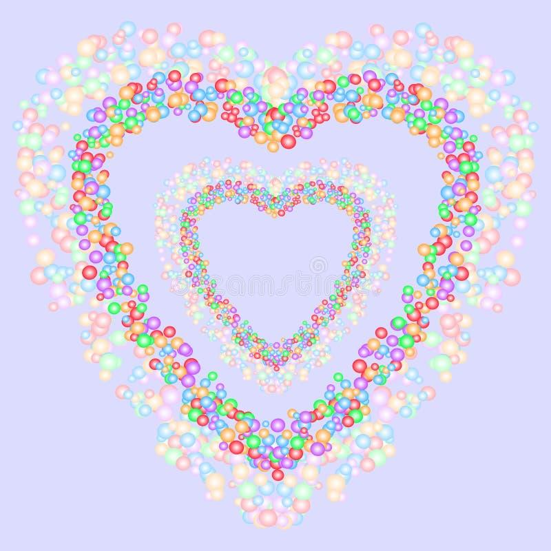 Herzformmuster bildete sich durch bunte Blasen in den verschiedenen Größen auf bläulichem grauem Hintergrund Auch im corel abgeho stock abbildung