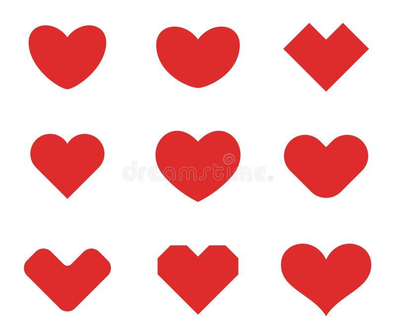 Herzformsammlungs-Designschablone St.-Valentinstag der Liebe Kardiologie-medizinische Gesundheitswesen-Firmenzeichenkonzeptikonen lizenzfreie abbildung