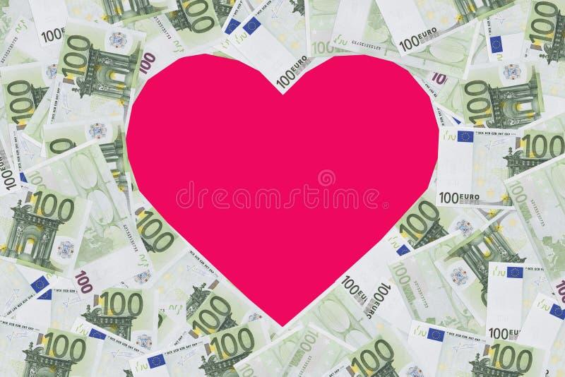 Herzformzeichen mit 100 Eurobanknoten Valentinsgrußkonzepthintergrund Herz von Banknoten in 100 Euros Platz für Text Kopieren Sie stockfoto