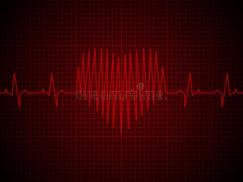 Herzfrequenz, Herzschlag, Neonlinie, auf Rot vektor abbildung