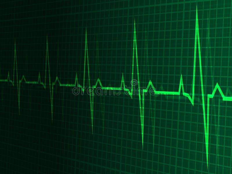Herzfrequenz, Herzschlag, Neonlinie, grüne Grafik lizenzfreie abbildung