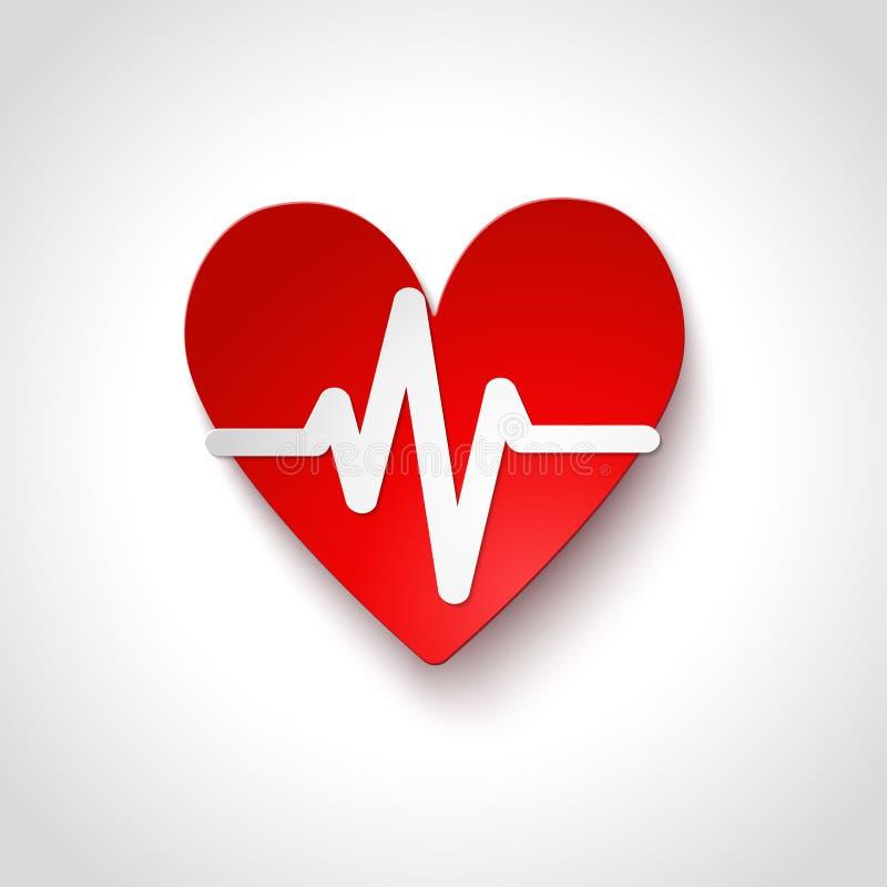 Herzfrequenzemblemikone lokalisiert stock abbildung