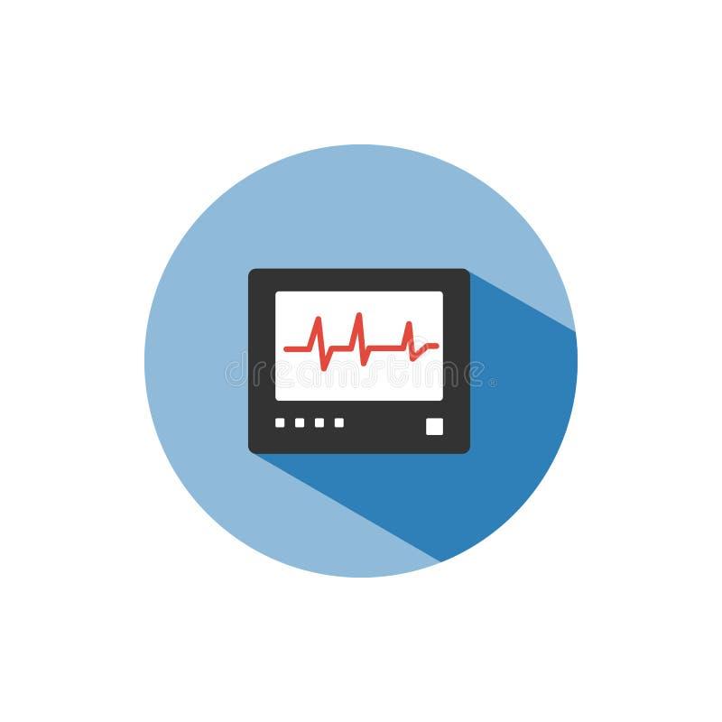 Herzfrequenzmonitor-Farbikone mit Schatten auf einem blauen Kreis herzschlag lizenzfreie abbildung
