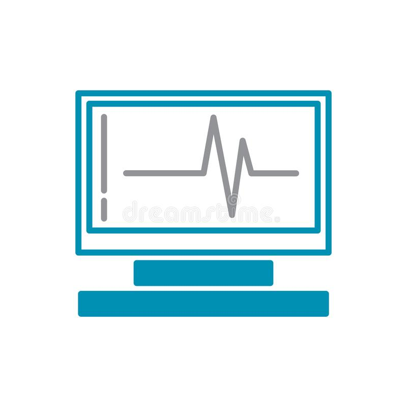 Herzfrequenzmonitorikone grau und blau auf weißem Hintergrund für Grafik und Webdesign, modernes einfaches Vektorzeichen Hintergr stock abbildung
