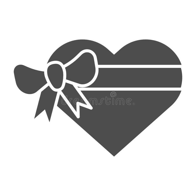 Herzgeschenkbox mit fester Ikone des Bogens Anwesende Vektorillustration der Liebe lokalisiert auf Weiß Valentinsgrußgeschenk Gly lizenzfreie abbildung