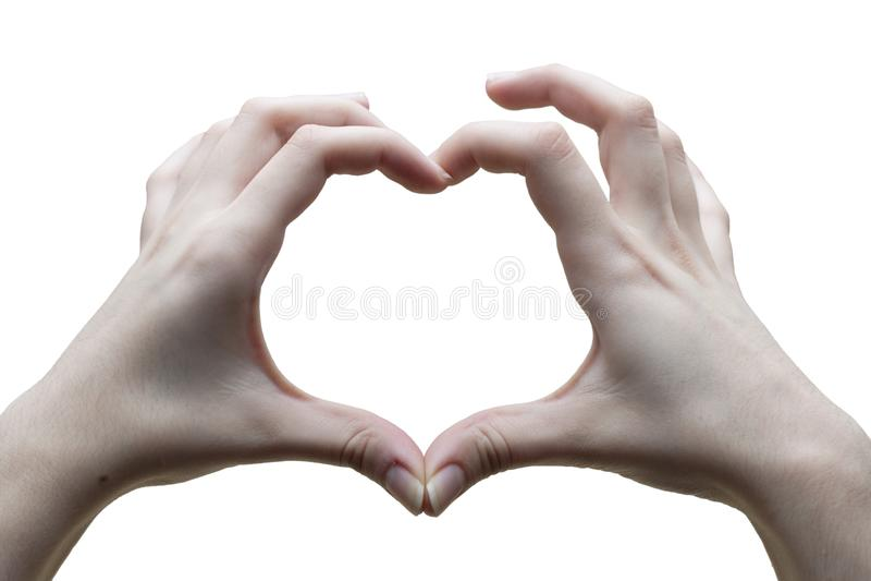 Herzhandzeichen Liebe Weißer Hintergrund lizenzfreie stockbilder