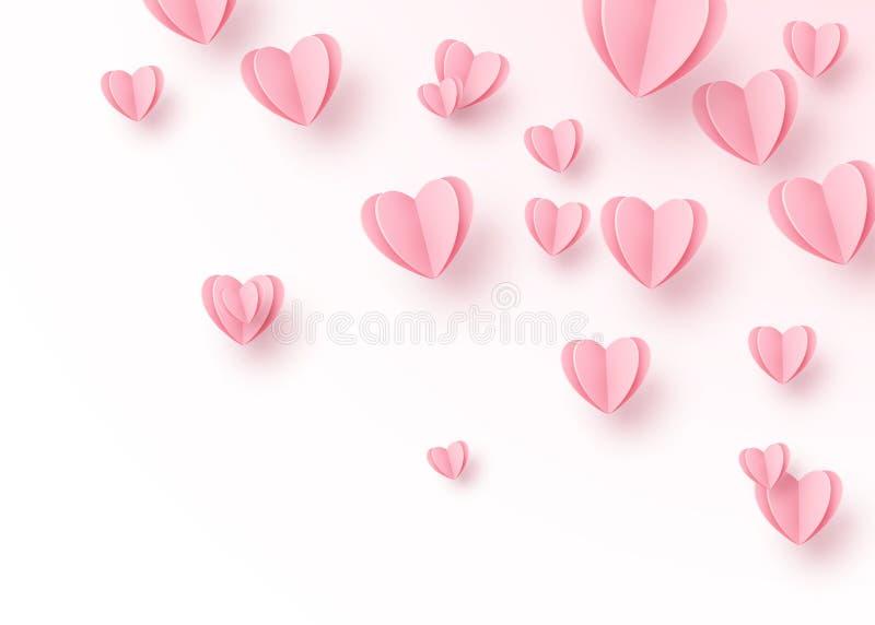 Herzhintergrund mit hellrosa Papierschnittherzen Liebesmuster für Bewegungsgrafikdesign, Valentinsgrußtageskarten, Mutter stock abbildung