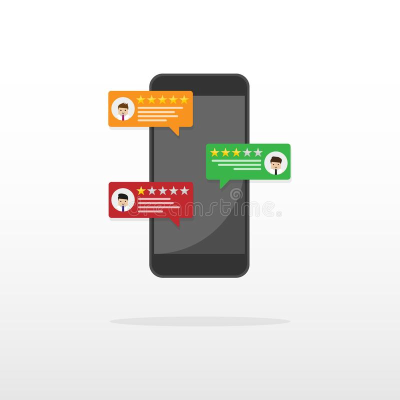 Herziet het schatten bel op mobiele telefoon vectorillustratie, vlakke het overzichtssterren van stijlsmartphone met goed en slec vector illustratie