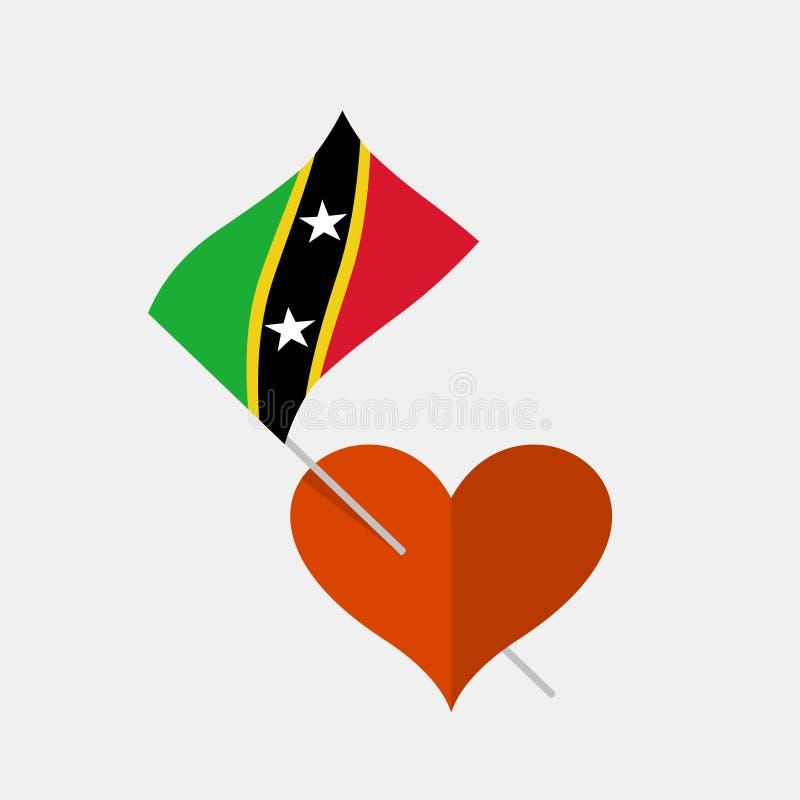 Herzikone mit Heiligem Kitts und Nevis-Flagge stock abbildung