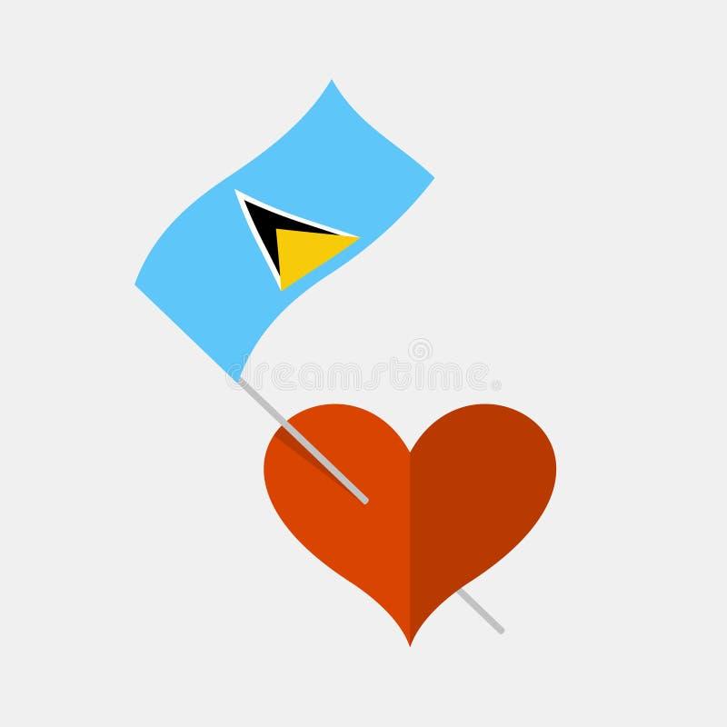 Herzikone mit St. Lucia-Flagge vektor abbildung