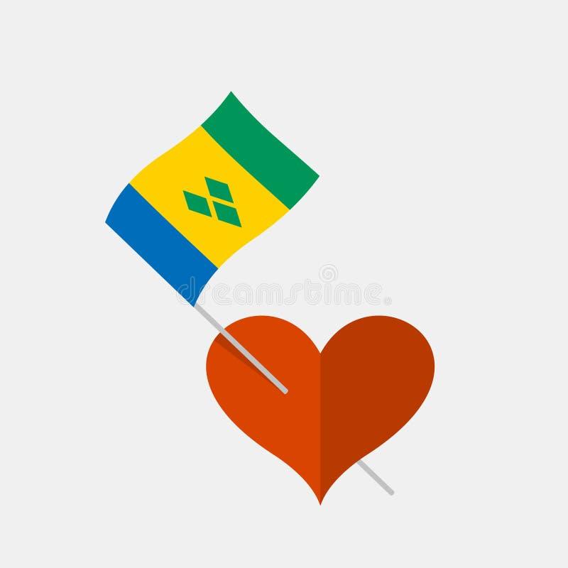 Herzikone mit St. Vincent und die Grenadinen Flagge stock abbildung