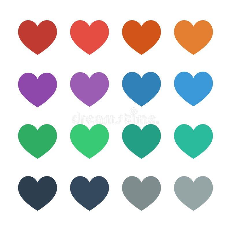 Herzikonen voll im flachen UI-Farbvektor vektor abbildung