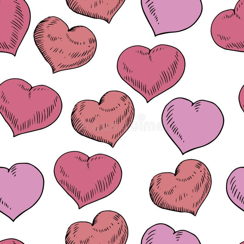Herzillustrationsst.-Valentinsgrußes des Vektorgekritzels das nahtlose Muster verschiedenen in den roten, violetten Farben lokali vektor abbildung
