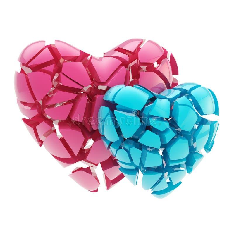 Herzinfarkt und Liebe: zwei Herzen gebrochen lizenzfreie abbildung
