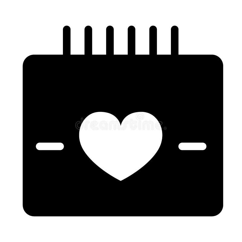 HerzKalendertag-Körperikone Liebesdatumsillustration lokalisiert auf Weiß Feier Glyph-Artdesign, entworfen für stock abbildung