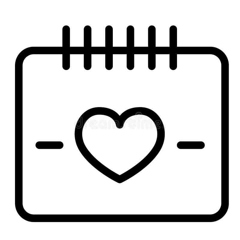 HerzKalendertaglinie Ikone Liebesdatumsillustration lokalisiert auf Weiß Feierentwurfs-Artdesign, entworfen für vektor abbildung