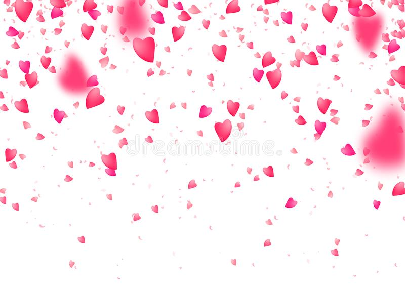 Herzkonfettihintergrund Fallen von den oben genannten rosa Liebespartikeln Unscharfes Blumenblatt stock abbildung