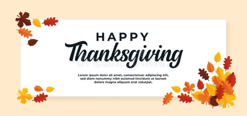 Herzlichen Dank für den Tag Text Hintergrund mit Herbst trocken Blätter Ziervektor Illustration Banner Vorlage lizenzfreie abbildung