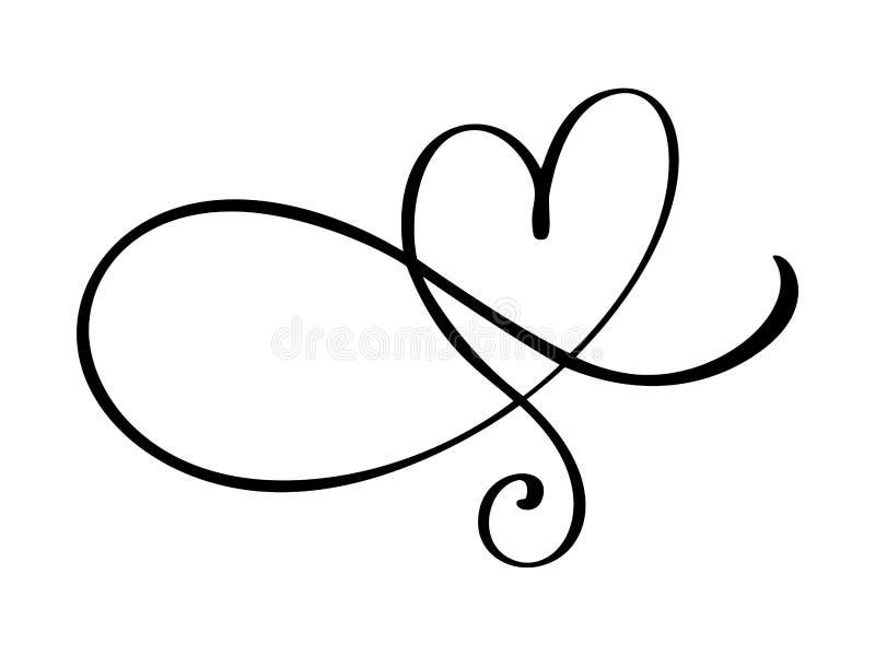 Herzliebe Flourishzeichen Das romantische verbundene Symbol, verbinden, Leidenschaft und Hochzeit Schablone für T-Shirt, Karte, P lizenzfreie abbildung