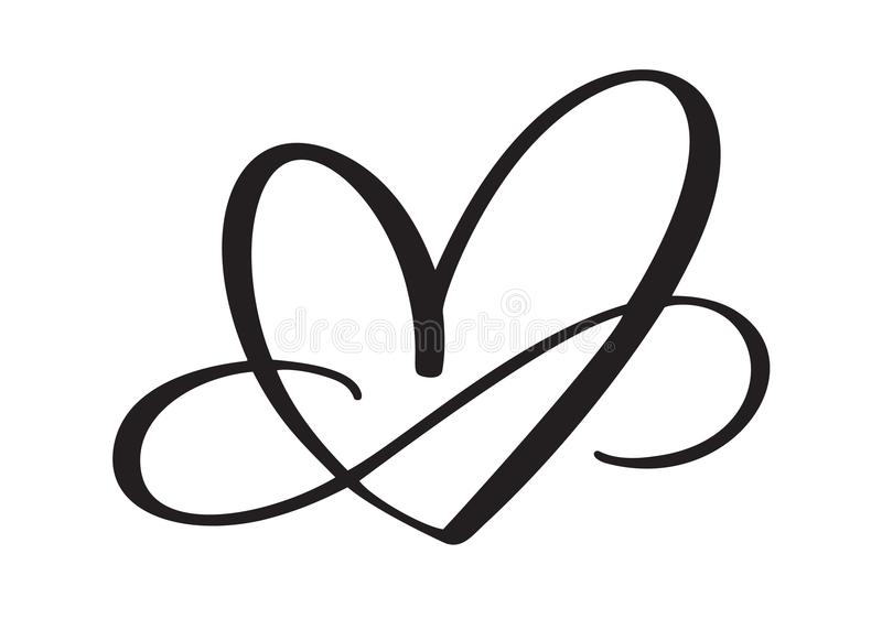 Herzliebeszeichen für immer Das romantische verbundene Symbol der Unendlichkeit, verbinden, Leidenschaft und Hochzeit Schablone f vektor abbildung