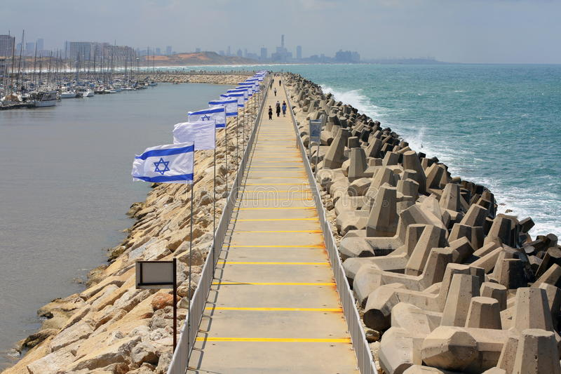 Herzliya port on Independence Day royalty free stock photography