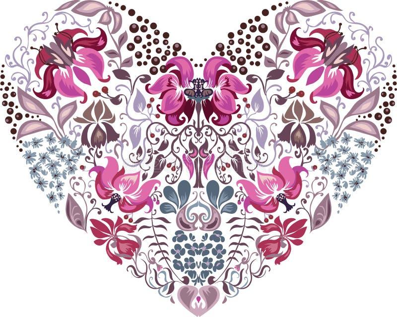 Herzmuster-Blumenschattenbilder lizenzfreie abbildung