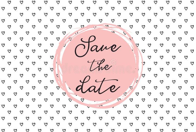 Herzmuster, Hand gezeichnete Ikonen und Illustrationen für Valentinsgrüße und Hochzeit Speichern Sie die Datumseinladungsschablon