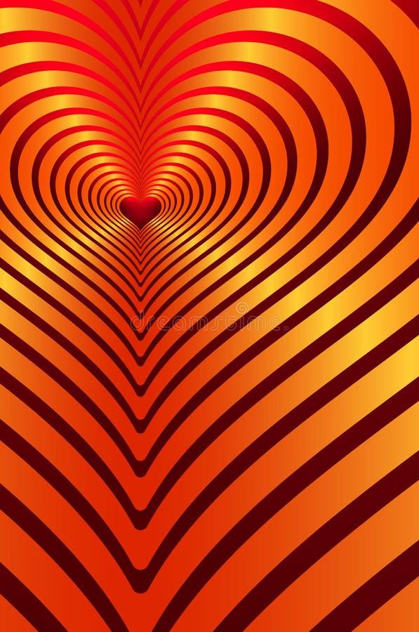 Herzmuster, Herzreflexion, bunte Herz-, Rote und Orangesteigung, Liebesthema vektor abbildung