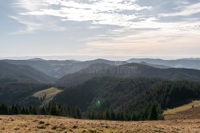 Herzogenhorn在黑森林在秋天 库存图片