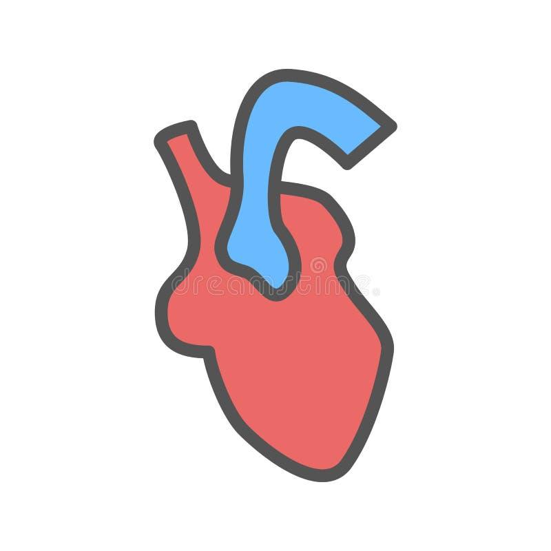 Herzorgan-Farbikone Lokalisierte Vektorillustration auf weißem Hintergrund stock abbildung