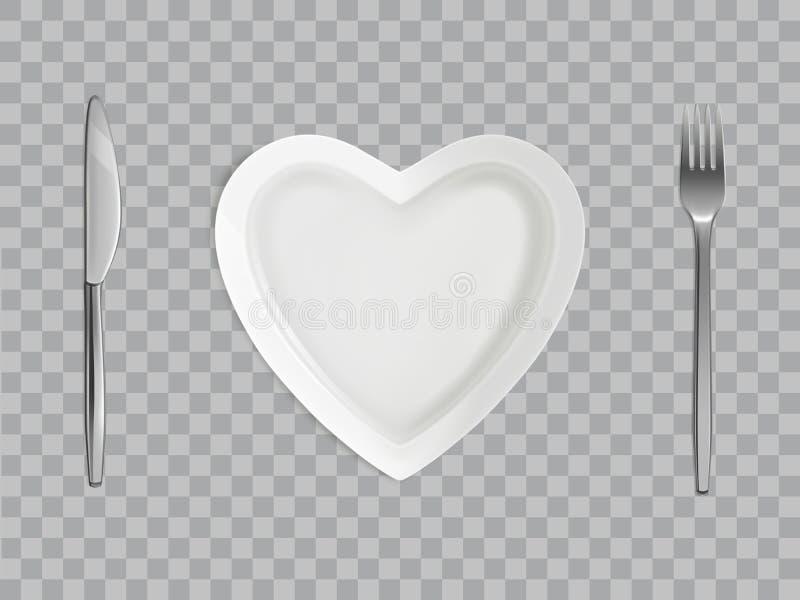 Herzplatte, Gabel und Messer, leeres Gedeck stockfoto
