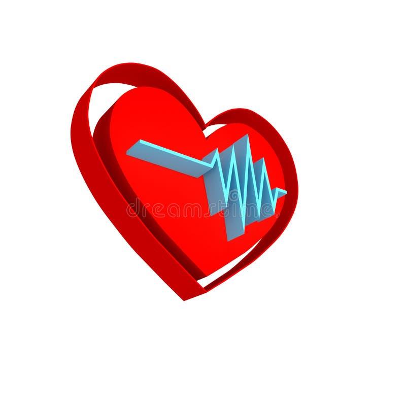 Herzrhythmuslogo Impuls simbol - 3D übertragen lizenzfreie abbildung