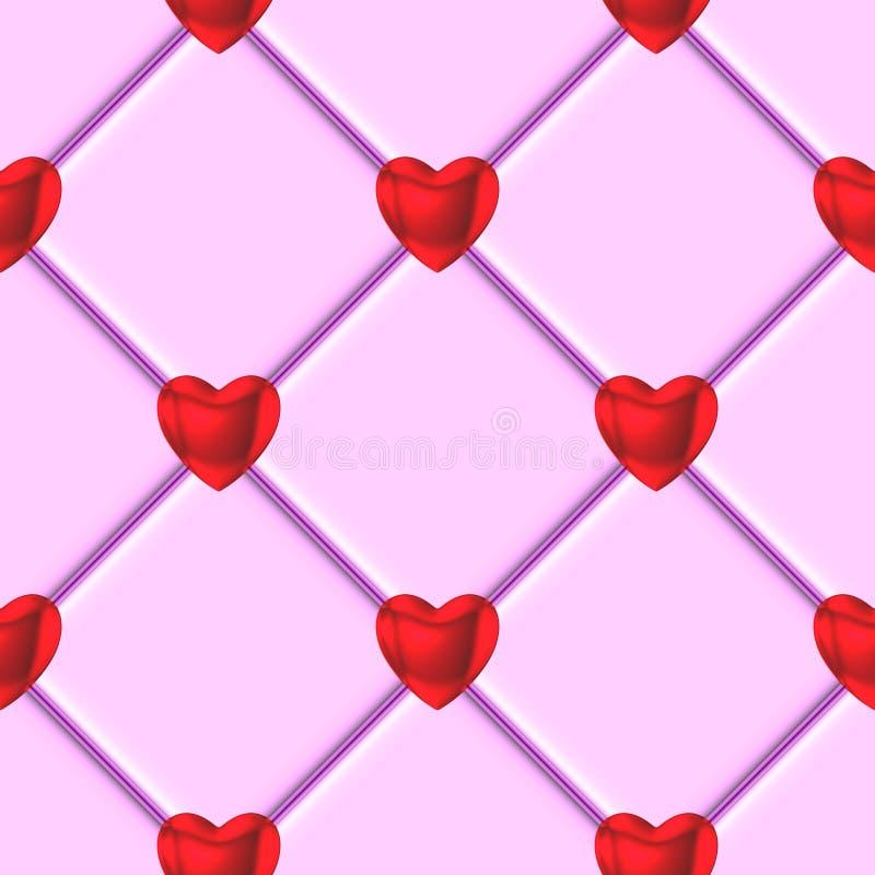 Herzrosa-Fliesenmuster der Valentinsgrüße rotes stock abbildung