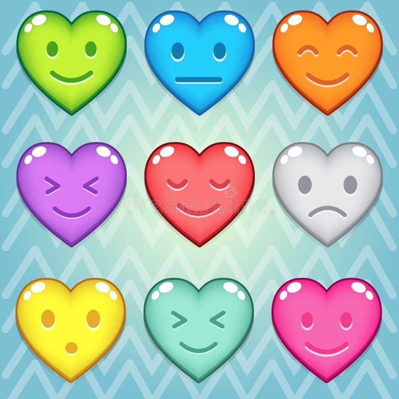Herzsüßigkeits-Blockpuzzlespiel bunt in der unterschiedlichen Farbe stock abbildung