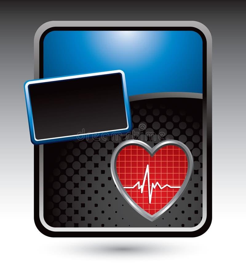 Herzschlag auf blauer stilisiert Reklameanzeige vektor abbildung