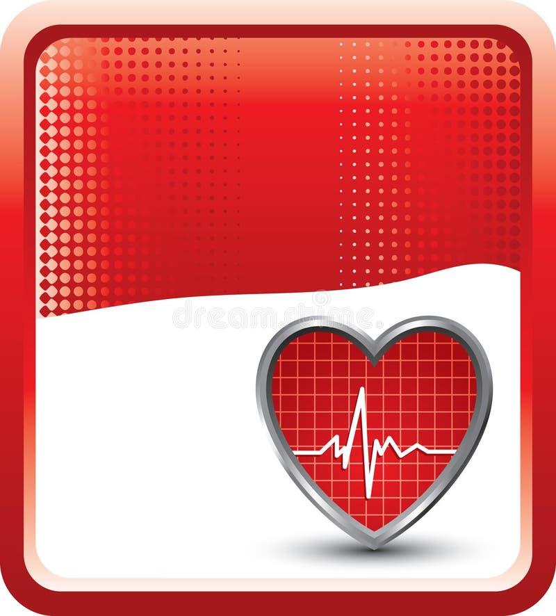 Herzschlag auf rotem Halbtonhintergrund lizenzfreie abbildung