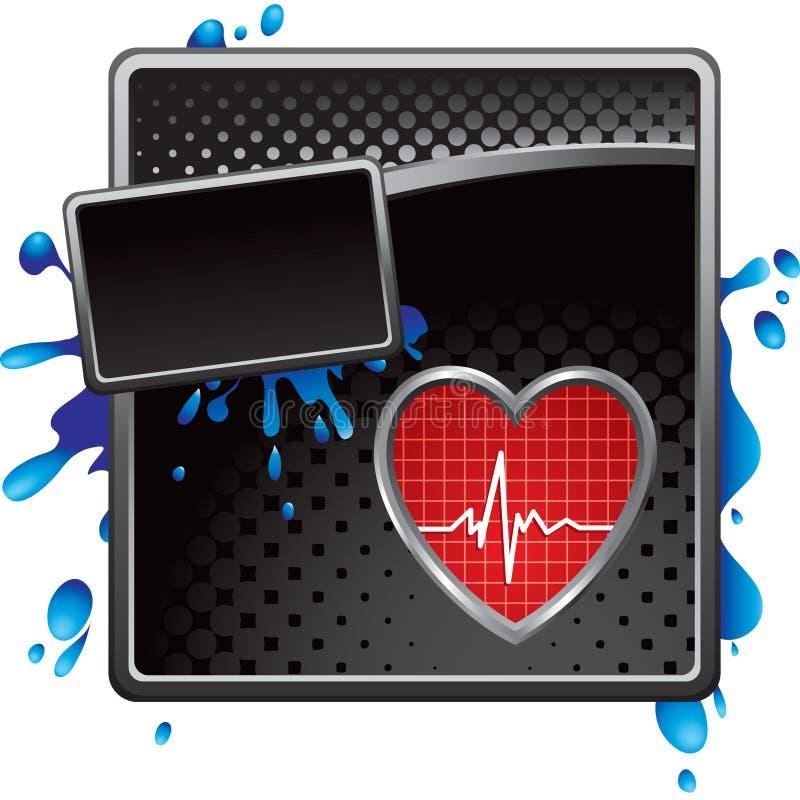 Herzschlag auf schwarzer grungy Halbtonanzeige stock abbildung