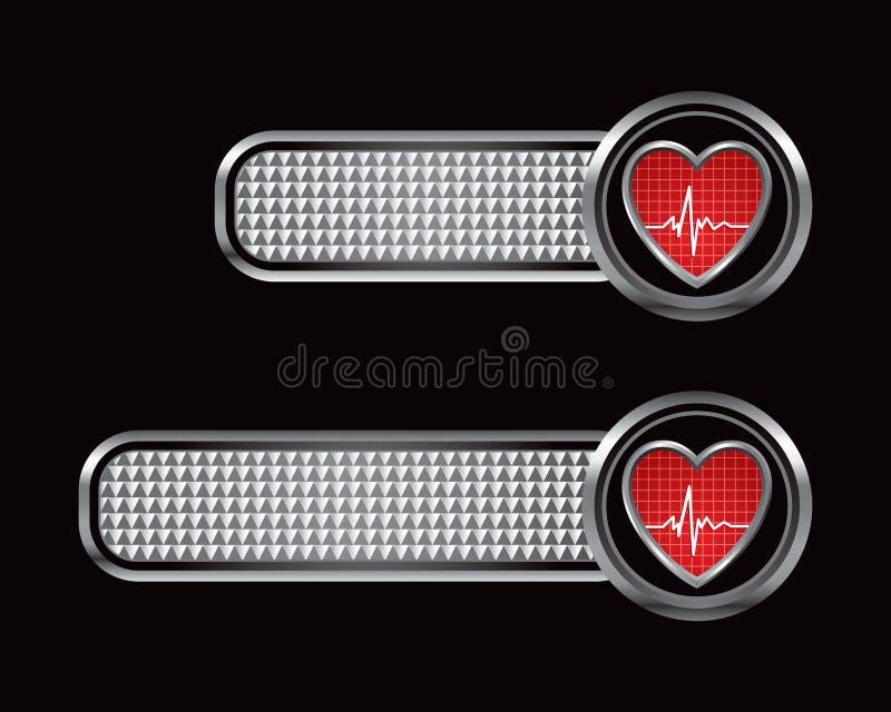Herzschlag auf silbernen checkered Tabulatoren vektor abbildung