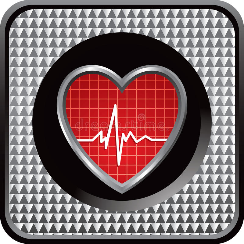 Herzschlag auf silberner checkered Web-Ikone stock abbildung